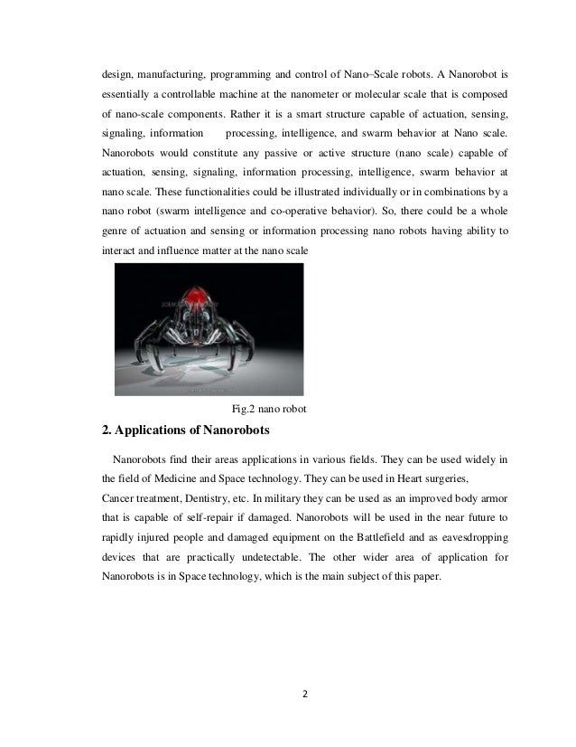 applications of nanorobots in space