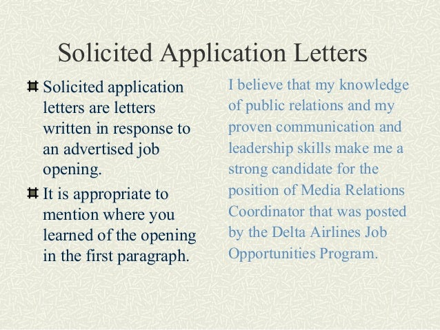 solicited and unsolicited application letter