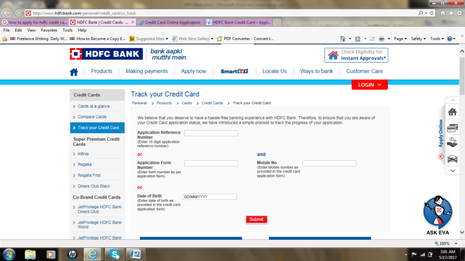 track icici credit card application status with application number