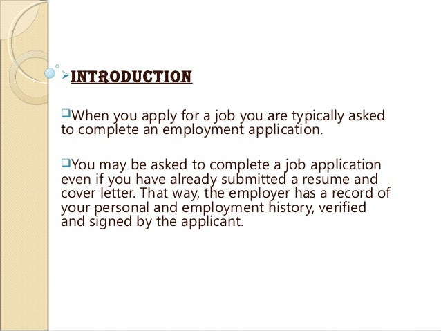 additional comments on job application