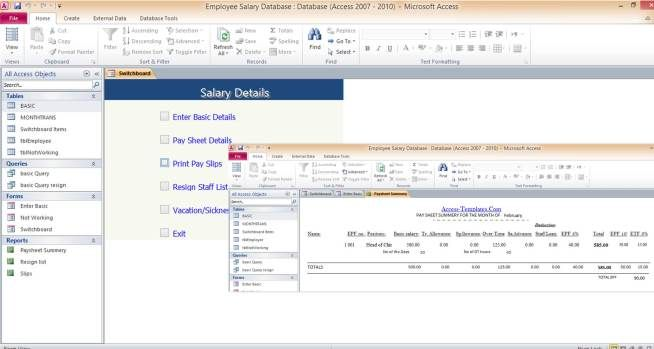 example of database application software