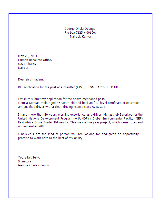 mail writing for job application